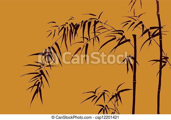 -, japanner, beweegreden, 3, vector, bamboe - csp12201421