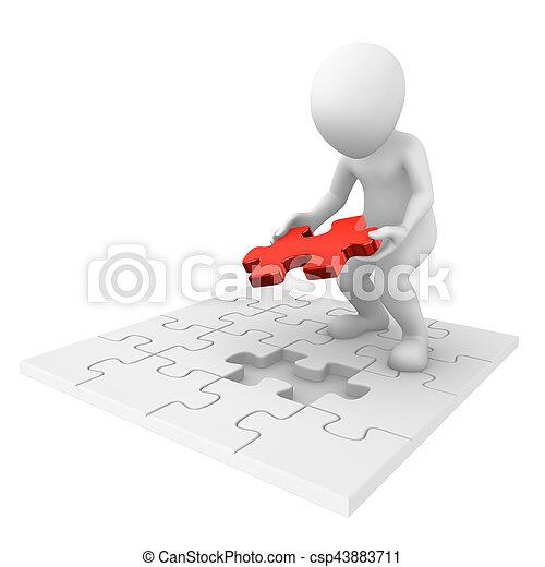 3d, afwerking, zoekplaatje, man - csp43883711