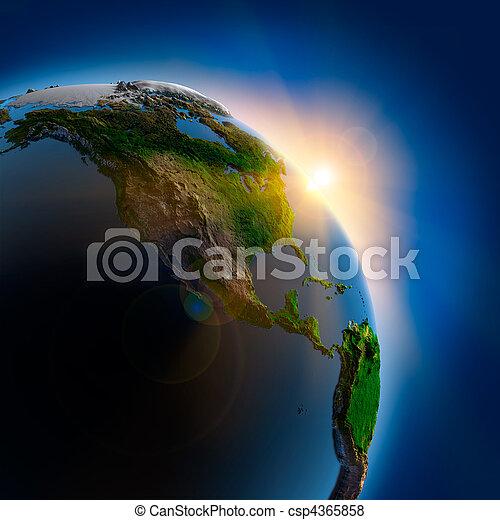 aarde, op, buitenst, zonopkomst, ruimte - csp4365858