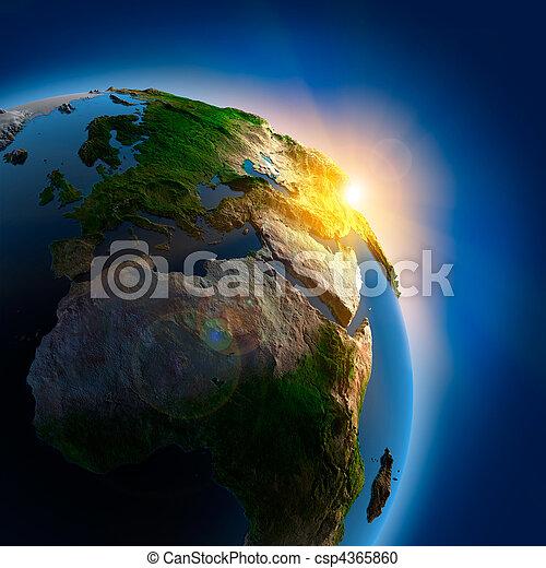 aarde, op, buitenst, zonopkomst, ruimte - csp4365860