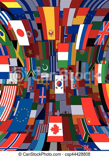 achtergrond., politiek, vector, vlaggen, achtergrond, wereld - csp44428808