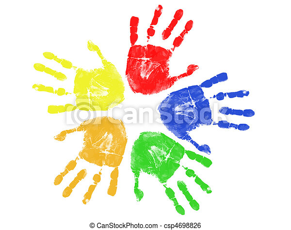 afdrukken, kleurrijke, hand - csp4698826