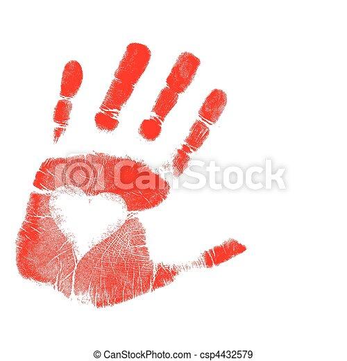 afdrukken, vector, liefde, /, hand - csp4432579