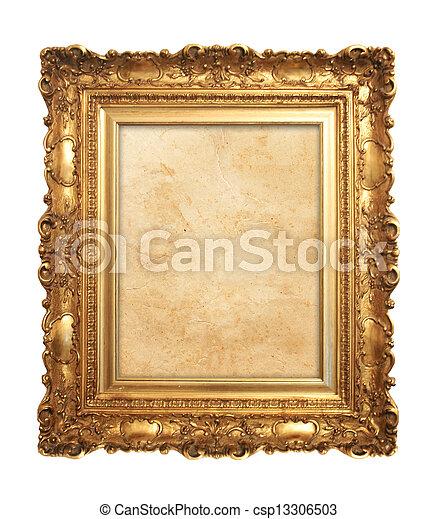 antieke , frame, oud, goud - csp13306503