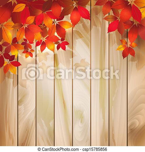 autumn leaves, hout, achtergrond, textuur - csp15785856