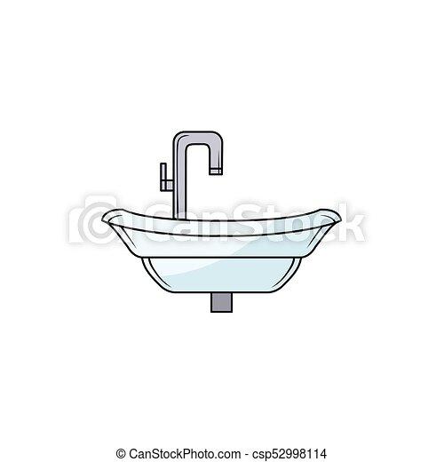 Badkamer Wasbak Kraan Hand Getrokken Zinken Staal Chroom Badkamer Afbeelding Kraan Wasbak Vrijstaand Illustratie Canstock