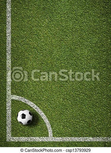 bal, bovenzijde, football veld, position., hoek, overzicht., voetbal, schop - csp13793929