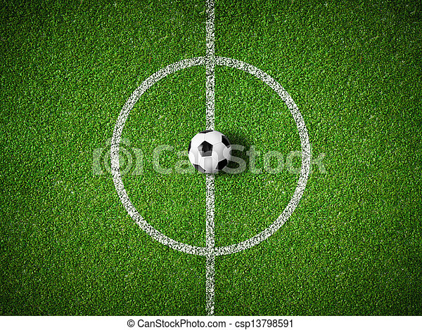 bal, centrum, bovenzijde, akker, achtergrond, voetbal, aanzicht - csp13798591