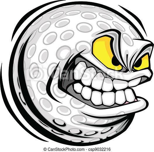 bal, golf, beeld, gezicht, vector, spotprent - csp9032216