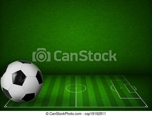bal, gras, football veld, achtergrond, voetbal, of - csp19192811
