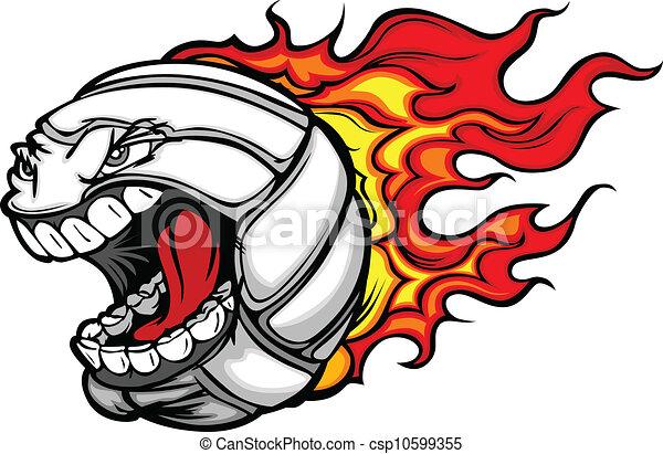 bal, het vlammen, volleybal, gezicht, vector, gegil, spotprent - csp10599355