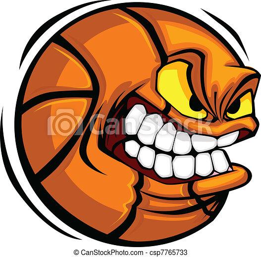 basketbal, vector, spotprent, bal, gezicht - csp7765733