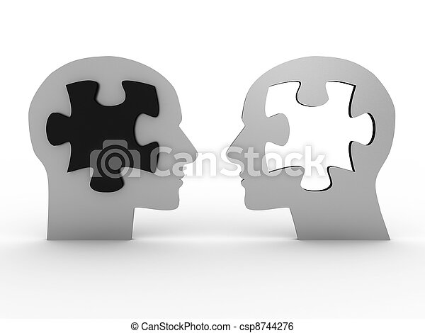 beeld, 3d, hoofden, twee, puzzle. - csp8744276