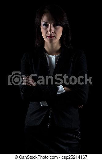 beeld, brunette, zakenmens  - csp25214167