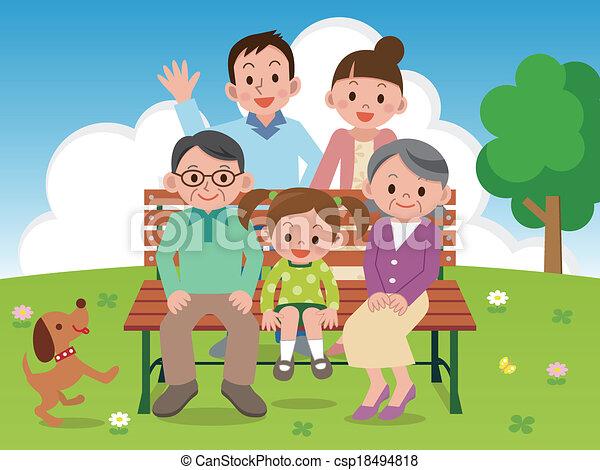 benc, vrolijke , park, gezin, zittende  - csp18494818