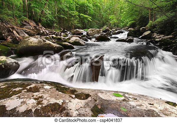 berg, rokerig, waterval - csp4041837