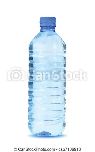blauw water, achtergrond., vector, fles, witte  - csp7106918