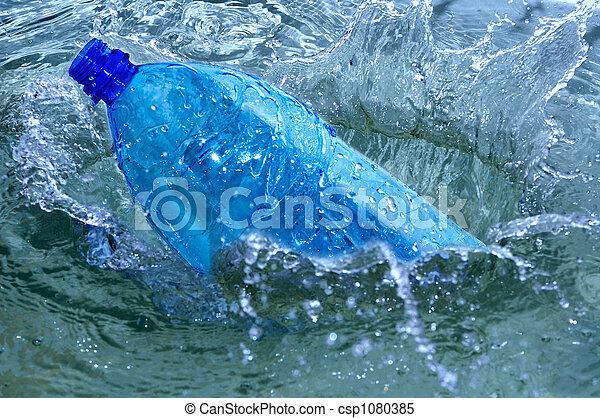 blauw water, gespetter, fles - csp1080385