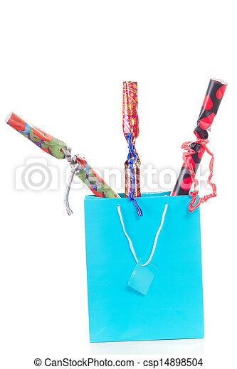 blauwe , shoppen , drie, kadootjes, zak, kerstmis - csp14898504