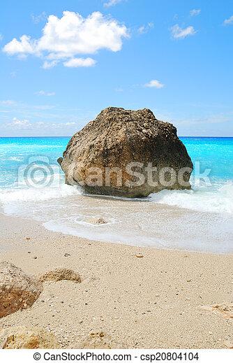 blauwe , turkoois, groot, zonnig, zee, rots, strand, hemel - csp20804104