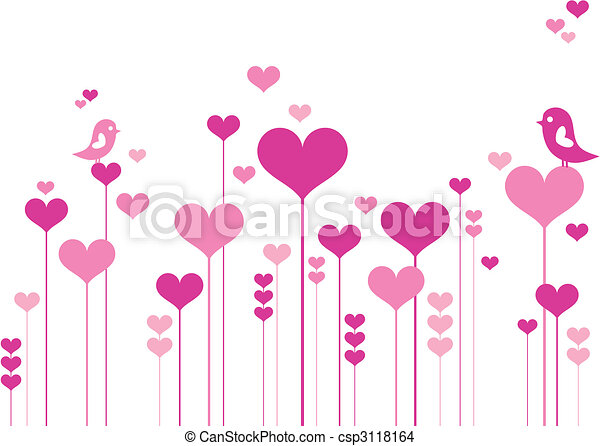 bloemen, hart, vogels - csp3118164