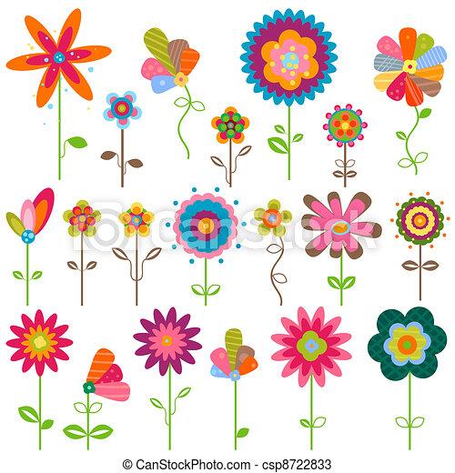 bloemen, retro - csp8722833
