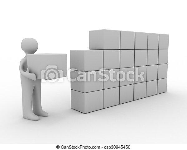 blokje, 3d, man - csp30945450