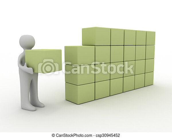 blokje, 3d, man - csp30945452