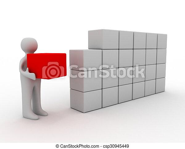 blokje, 3d, man - csp30945449