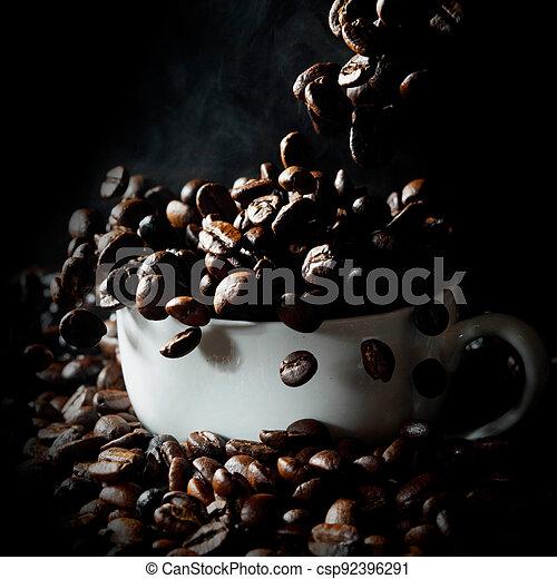 bonen, witte , het vallen, kop, koffie - csp92396291
