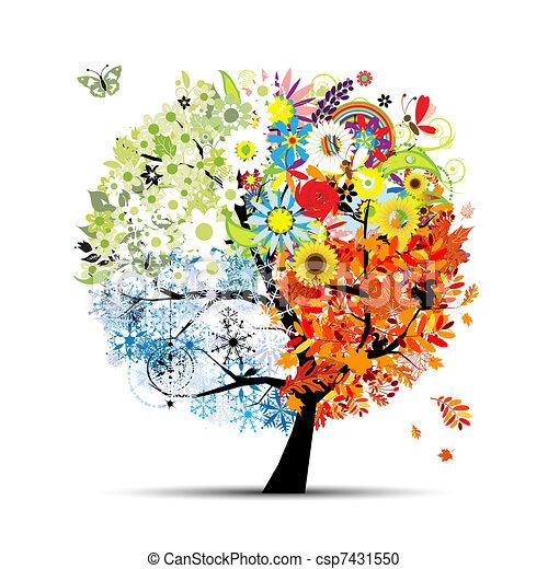 boompje, jouw, lente, winter., jaargetijden, -, herfst, zomer, kunst, vier, ontwerp, mooi - csp7431550