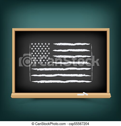 bord, trekken, vlag, school, usa - csp55567204