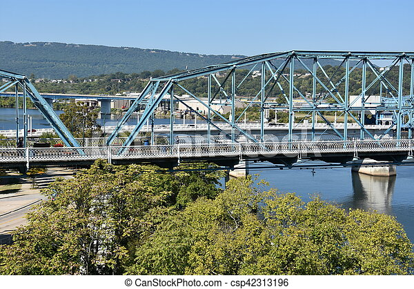 brug, chattanooga, straat, okkernoot - csp42313196