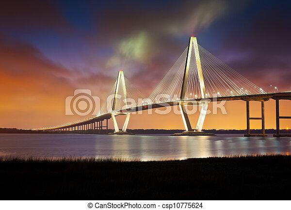 brug, kuiper, punt, ravenel, jr, arthur, patriotten, ophanging, sc, charleston, rivier, zuidelijke carolina - csp10775624