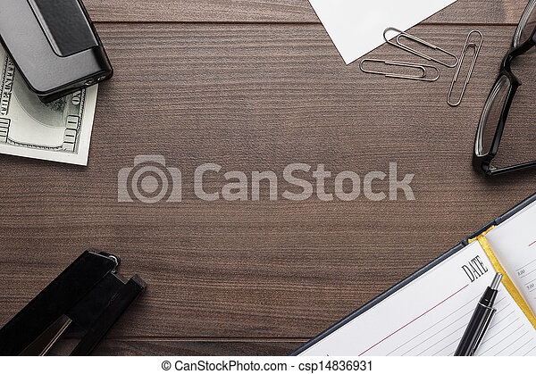 bruine , kantoor, houten, enig, voorwerpen, tafel - csp14836931