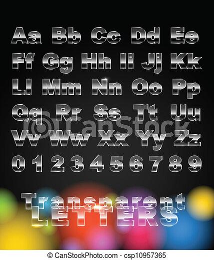 cijfers, glas, brieven, transparant - csp10957365