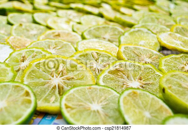 close-up, fruit, citroen snijdt - csp21814987