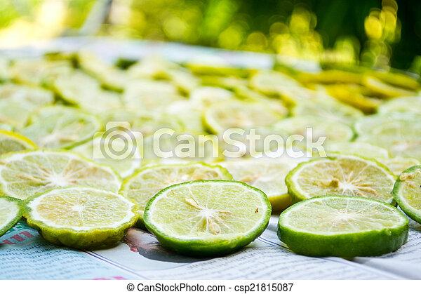 close-up, fruit, citroen snijdt - csp21815087