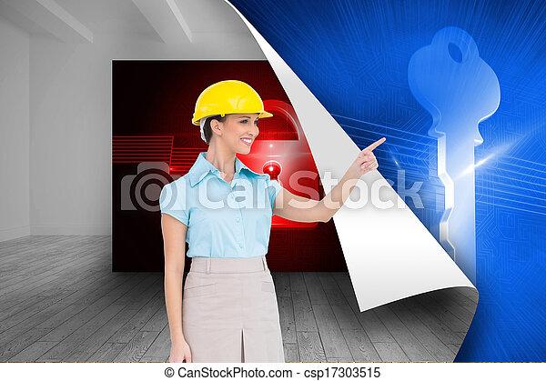 composiet, aantrekkelijk, het glimlachen, beeld, wijzende, architect - csp17303515