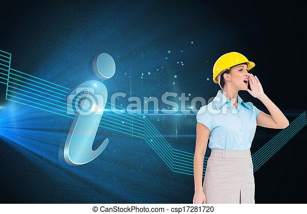 composiet, aantrekkelijk, het schreeuwen, beeld, architect - csp17281720