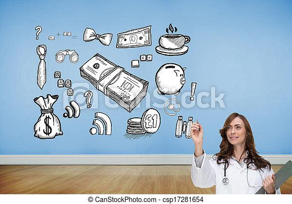 composiet, arts, het glimlachen, beeld, wijzende - csp17281654