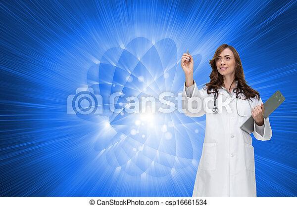 composiet, arts, het glimlachen, beeld, wijzende - csp16661534