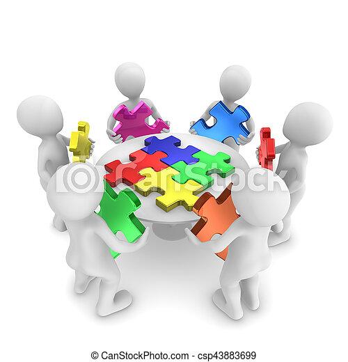 concept, mensen, zoekplaatje, teamwork, 3d - csp43883699