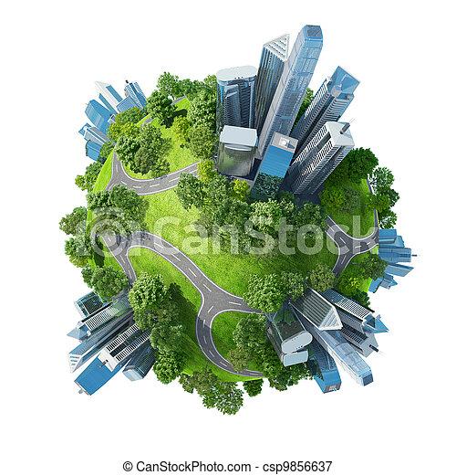conceptueel, mini, planeet, groene, parken - csp9856637