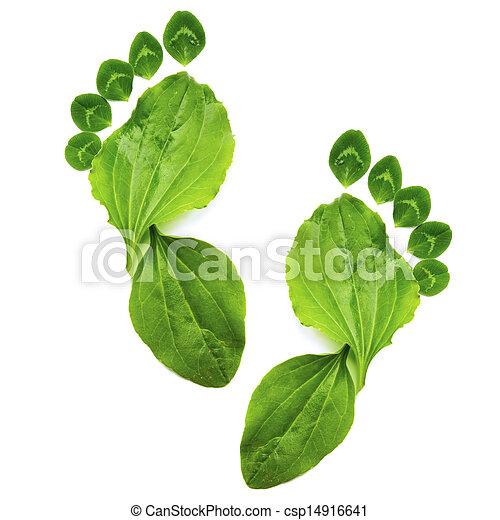 ecologie, kunst, lente, abstract, voet, groene, afdrukken, symbool - csp14916641