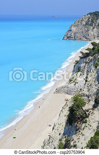 egremni, eiland, lang, lefkada, griekenland, strand - csp20753904