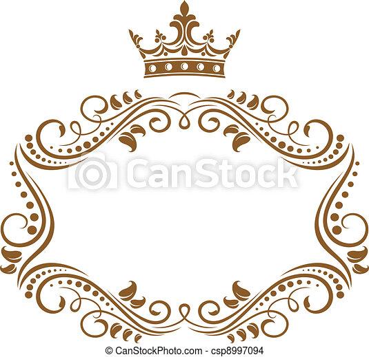 elegant, frame, koninklijke kroon - csp8997094