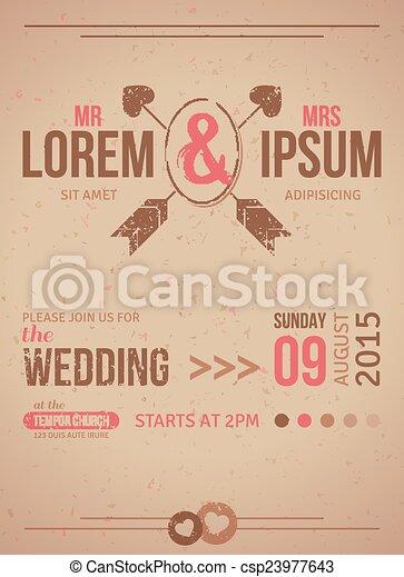 elements., ouderwetse , uitnodiging, ontwerp, kaart, trouwfeest, textured - csp23977643