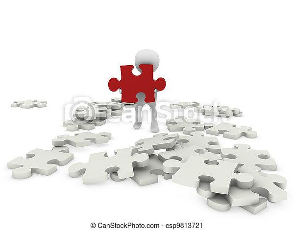 figuur, raadsel, 3d, persoon - csp9813721