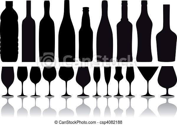flessen, vector, bril, wijntje - csp4082188